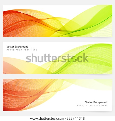 Abstract template horizontal banner with transparent waves - stock vector