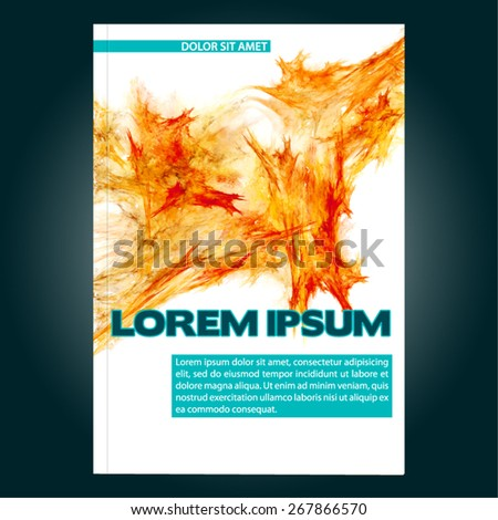 Abstract template of cover for brochure, book, booklet, poster or catalog with bright orange sharp fractal. Chaotic vector layout - stock vector