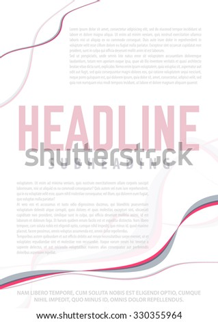 Abstract template of page with red wavy lines and place for text. Graphic vector pattern - stock vector