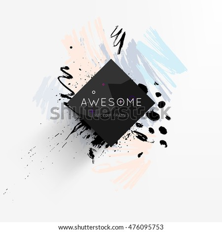 Abstract template with watercolor elements for business designs and backgrounds. All aquarelle elements are monochrome and easy to recolor.