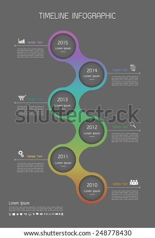 Abstract templete, Timeline infographic and icons set for business design, reports, step presentation, number options, progress, workflow layout or websites.  - stock vector