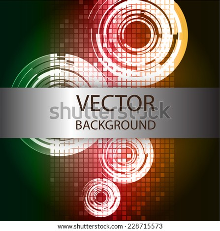 Abstract. text box. Brochure for computer graphic and technology. Dark green red orange background.