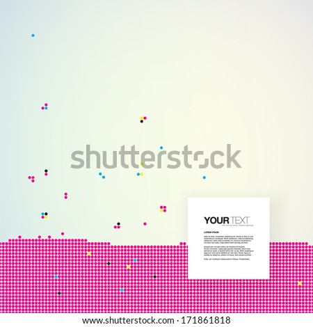 Abstract text box design with CMYK dots pattern background  Eps 10 vector illustration  - stock vector