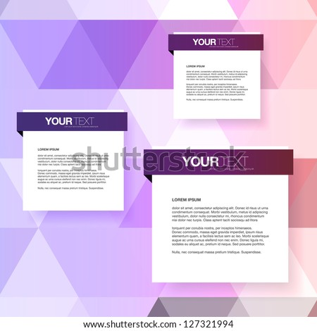 Abstract text boxes design vector with colorful triangles background - stock vector