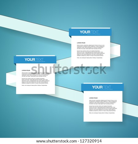 Abstract text boxes design vector with ribbon on blue background - stock vector