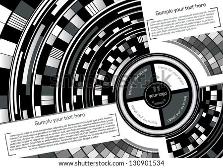 Abstract text frame (circle) black - stock vector