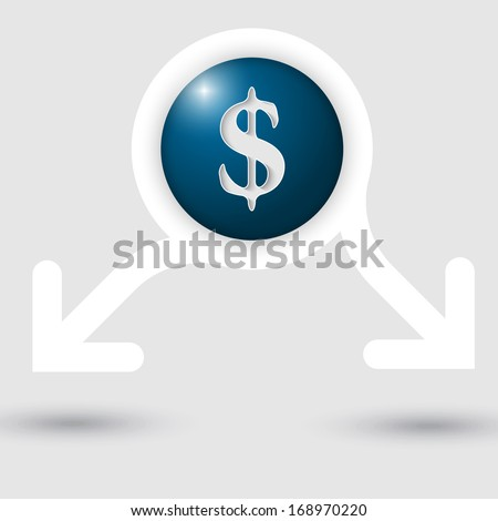 abstract text frame with two arrows and dollar sign