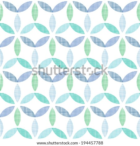 Abstract textile blue green leaves seamless pattern background - stock vector