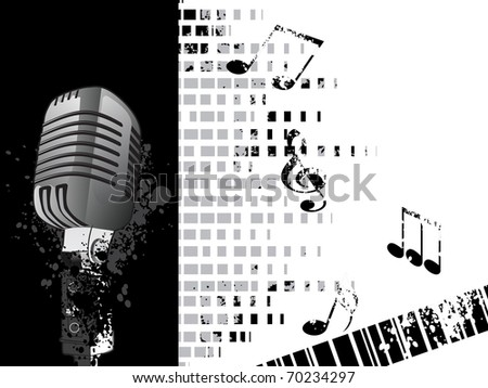 abstract texture background with musical notes, mike - stock vector