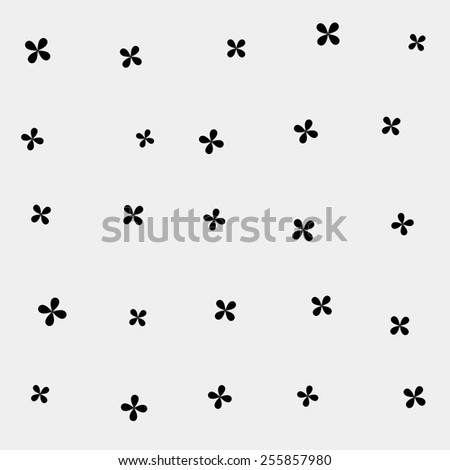 Abstract texture with monochrome flowers. Cute background. Primitive style. - stock vector