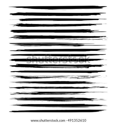 Abstract textured long strokes painted by black paint vector objects isolated on a white background