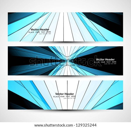 Abstract three colorful wave header design vector - stock vector