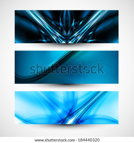 Abstract three header set blue business wave whit vector  - stock vector