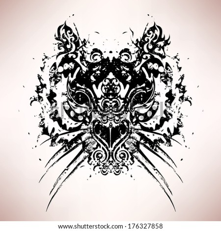 Abstract tiger head  retro vector illustration - stock vector
