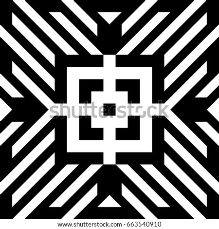 abstract tile with black white striped diagonal lines and geometric shape in center figurative element
