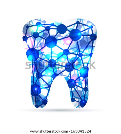 Abstract Tooth of molecules, scientific design. Beautiful blue color. - stock vector