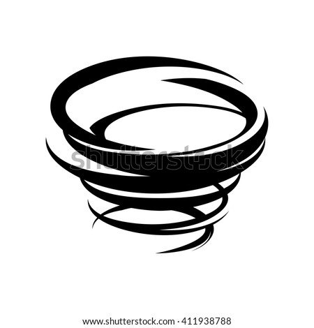 Abstract tornado icon. Vector typhoon symbol. Storm black and white isolated illustration. Weather sign. - stock vector