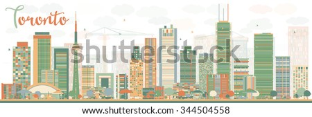Abstract Toronto skyline with color buildings. Vector illustration. Business travel and tourism concept with modern buildings. Image for presentation, banner, placard and web site. - stock vector