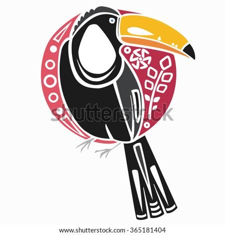 Abstract toucan logo. Stylized bird art. - stock vector