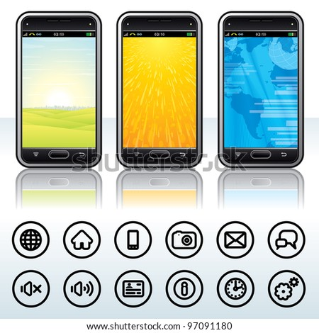 Abstract Touchscreen Phones with Universal Contour Icons. Vector Illustration. - stock vector
