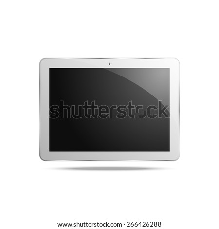 Abstract touchscreen tablet computer isolated on light background - stock vector