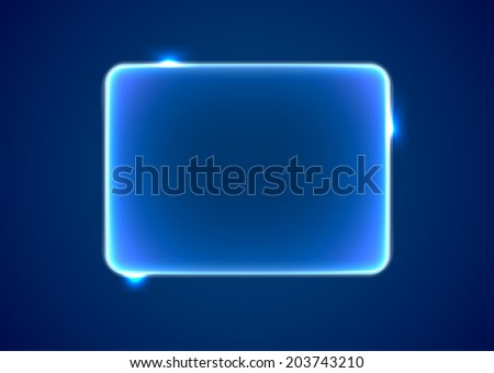 Abstract transparent blue rectangle with lights and sparkles - stock vector