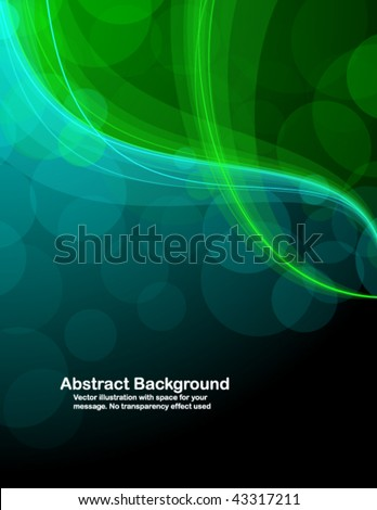 Abstract transparent green and blue waves on black background. Vector illustration in RGB colors - stock vector