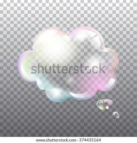 Abstract transparent soap speech bubble with flares on light grey background. Vector eps10 illustration - stock vector