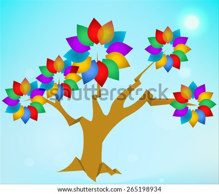 abstract transparent tree, tree background with circle flat colors - vector eps10 - stock vector