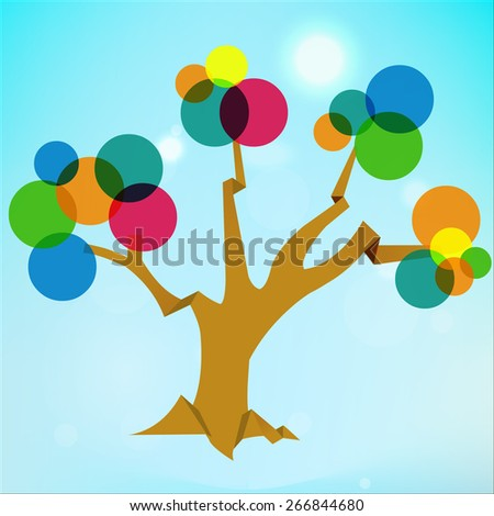 abstract transparent tree, tree background with circle flat colors - vector eps10
