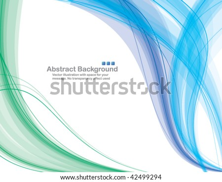 "Abstract transparent waves on white background. Vector illustration. No ""transparency"" effect used. - stock vector"