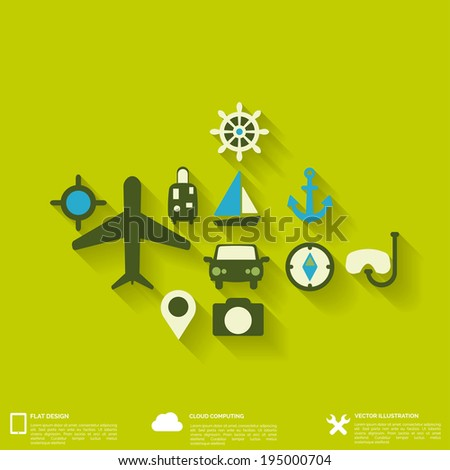 Abstract travel background with flat web icons. - stock vector