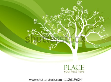 Abstract tree and olive-green background - stock vector