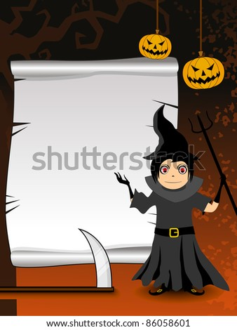 abstract tree branch, hanging pumpkin background with witch holding weapons
