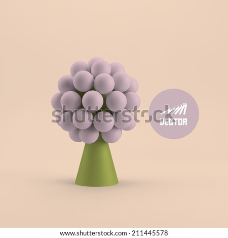 Abstract tree. Concept for business, social media, technology, network and web design. 3d vector illustration. - stock vector