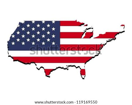 Abstract tree dimensional map of United States, with national flag clipped in country shape, vector