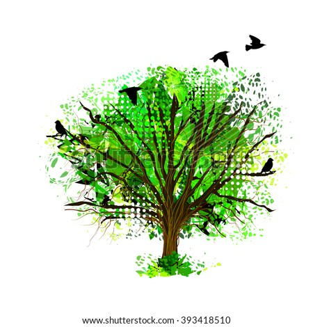 Abstract tree from paint spots with birds. Vector - stock vector