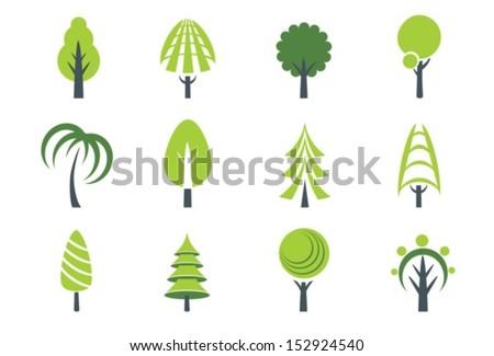 Abstract tree icon. Vector.  EPS-10 (non transparent elements,non gradient) - stock vector