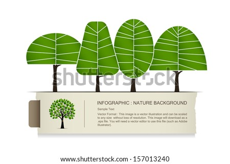 Abstract tree infographics with vintage paper label background - Vector illustration - stock vector