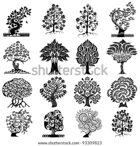 abstract tree isolated silhouette - stock vector