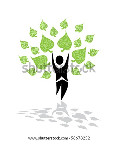abstract tree made by human silhouette, symbol of life and nature - stock vector