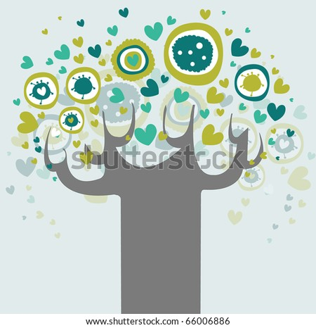 Abstract tree made of flowers. - stock vector