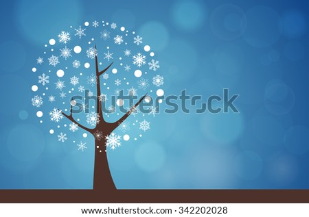 Abstract tree on blue bokeh background - winter natural motive. Vector illustration. - stock vector