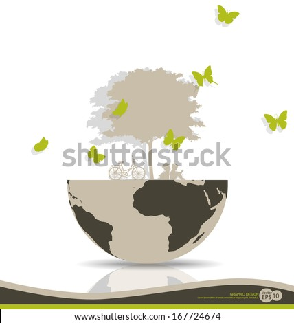 Abstract tree on globe. Vector illustration.