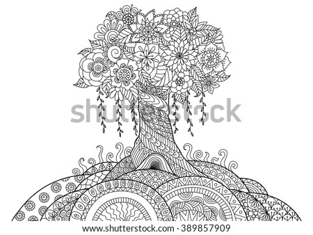abstract trees coloring pages - photo#10
