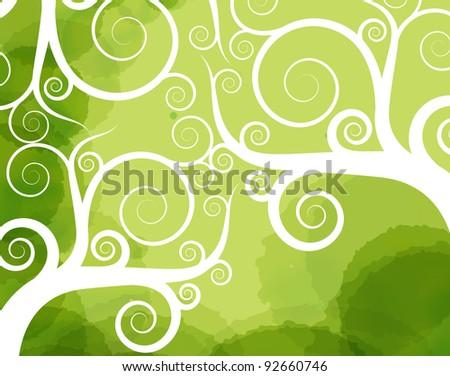 Abstract tree swirl vector background - stock vector