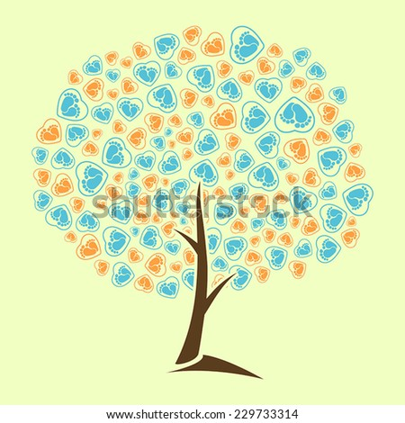Abstract tree vector baby traces heart