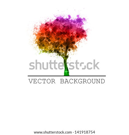 abstract tree vector, easy all editable - recolor, edit text, etc. - stock vector