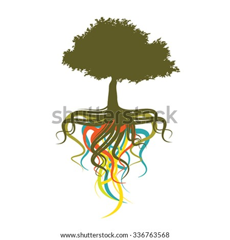 abstract tree, vector illustration - stock vector