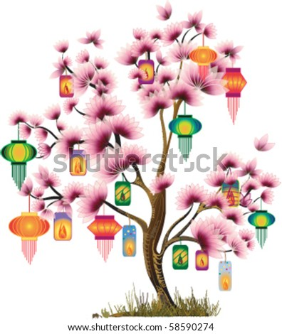 Abstract tree. Vector middle-autumn festival - stock vector